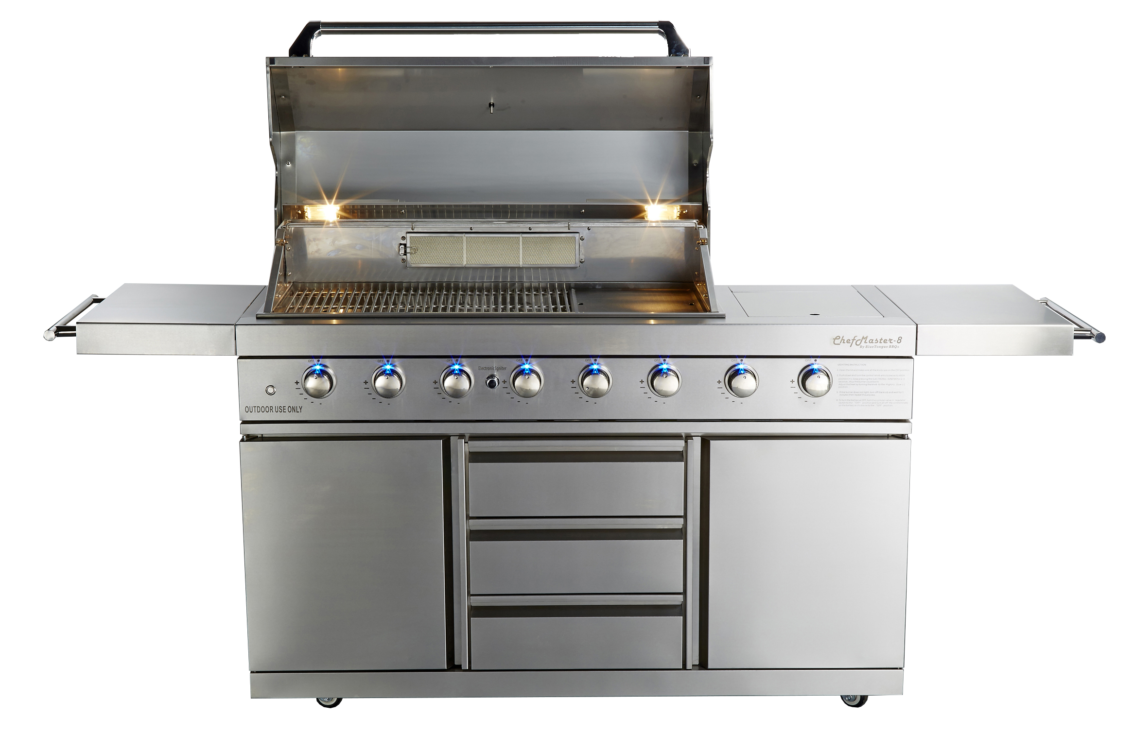 Freestanding grill with LED lighting