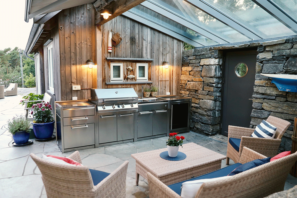 Outdoor kitchen in stainless steel - Steel