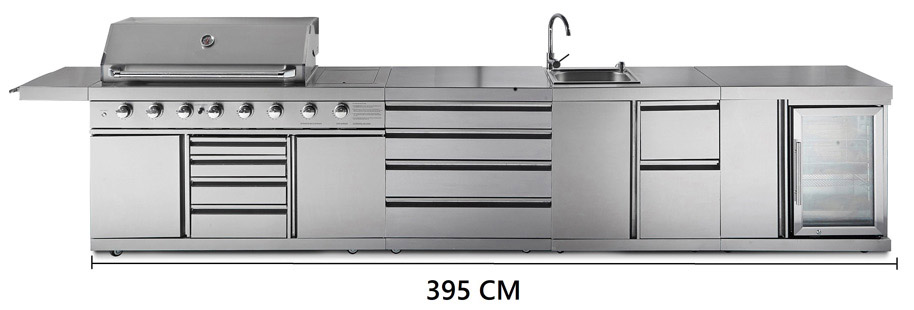Measure the width of the outdoor kitchen